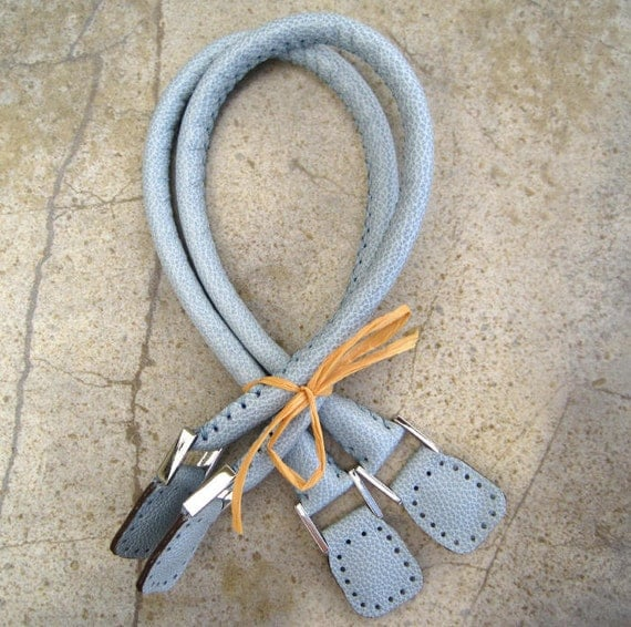 Handmade Leather Bag Handles - Powder Blue