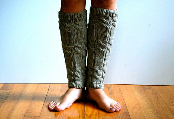 Knit Leg Warmers, Cabled in Light Gray Wool