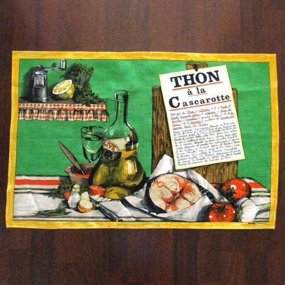 Vintage Kitchen Towel Dish Towel French Parisian Wine Green Yellow Red 1960s