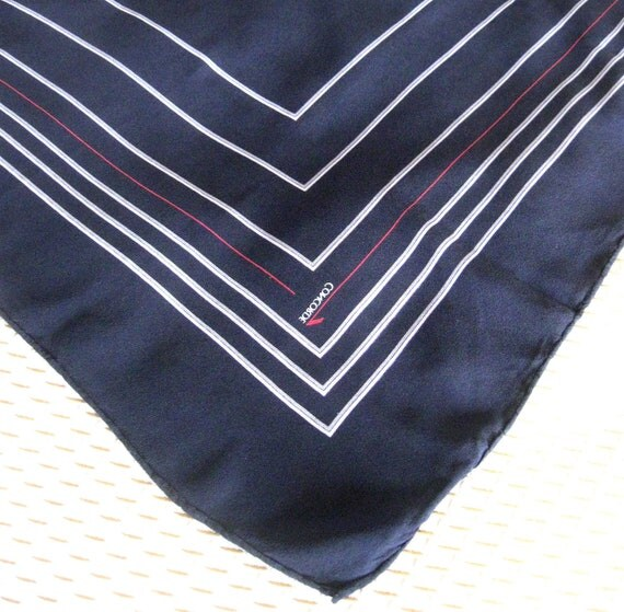 Vintage Silk Scarf Concorde British Airways Navy Red Gray Collectible