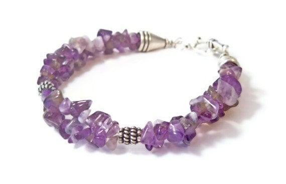 Amethyst Stone Chip Double Strand Bracelet, Amethyst Beaded Bracelet, Handmade Jewelry, Semi Precious Stone Jewelry
