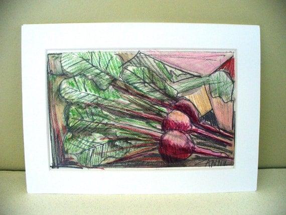 Raddish Drawing Art Veggie Vegan Organic Gift for Chef Kitchen Decor