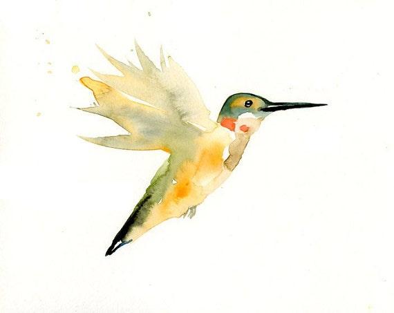 HUMMINGBIRD by DIMDI Original watercolour painting 10x8inch