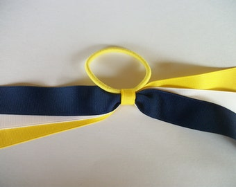 Blue Yellow and White . Pony Tail Holder/Cheer Hair Bow with Streamers, School Colors  Ribbon Pony Tail Streamers