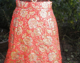 SALE Vintage 1960s Holiday Party Glitter Gold and Red Maxi Skirt S/M