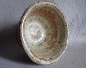 Small Handmade Stoneware Pot Dish Bowl Wood Fired with Yellow Glaze