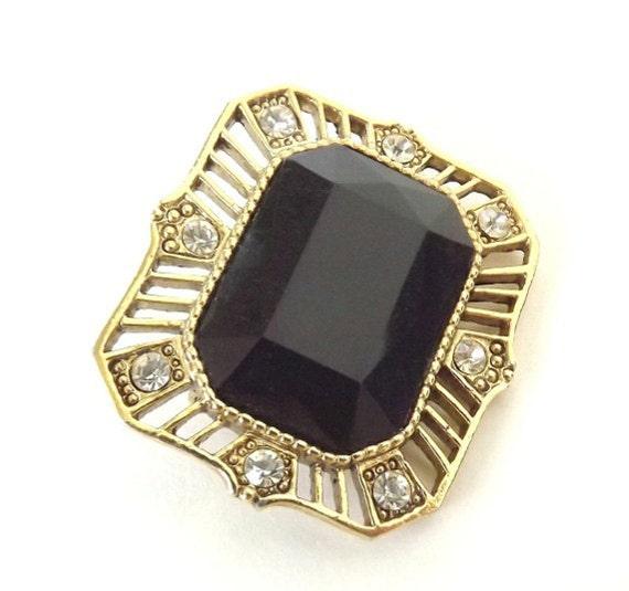 Vintage Brooch Black Jet Glass with Diamond Rhinestones Costume Jewelry Victorian Style