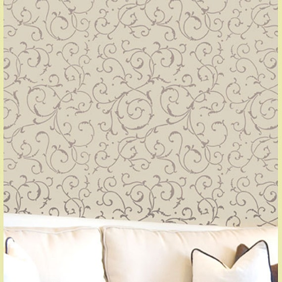 Wall Stencil  Lily Scroll - Reusable stencils for easy DIY Wall decor