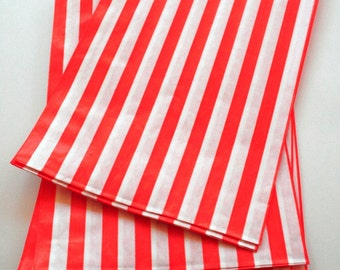 Set of 25 - Traditional Sweet Shop Red Stripe Paper Bags - 10 x 14