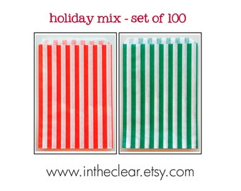 Set of 100 - Traditional Sweet Shop Christmas Holiday Red and Green Candy Stripe Paper Bags - 7x9 New Style