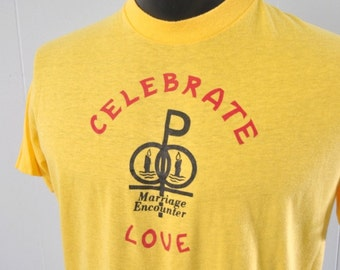 Near Burnout Vintage Tshirt Celebrate Love Super Soft Thin Tee 80s LARGE