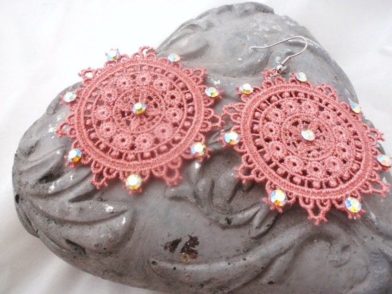 Lace earrings , summer earrings -   SALOME -  vintage pink lace , lace and crystal earrings ,