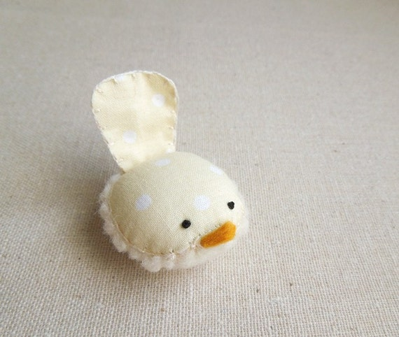 Handmade Decorative Wren Bird in Butter Yellow and White Polka Dot