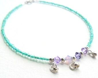 Aqua Anklet Sterling Silver dangles  Lavender swarovski crystals summer 2015
