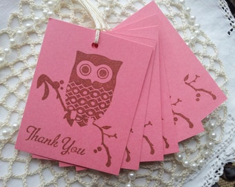 Thank You Owl Tags Pink Set of 8
