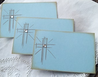 Shining Cross Place Cards Food Buffet Label Tags Christening Baptism Blue Set of 10