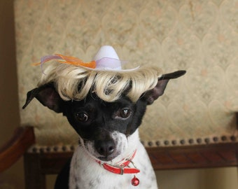 Cute white color hat with   wig  for dog or cat