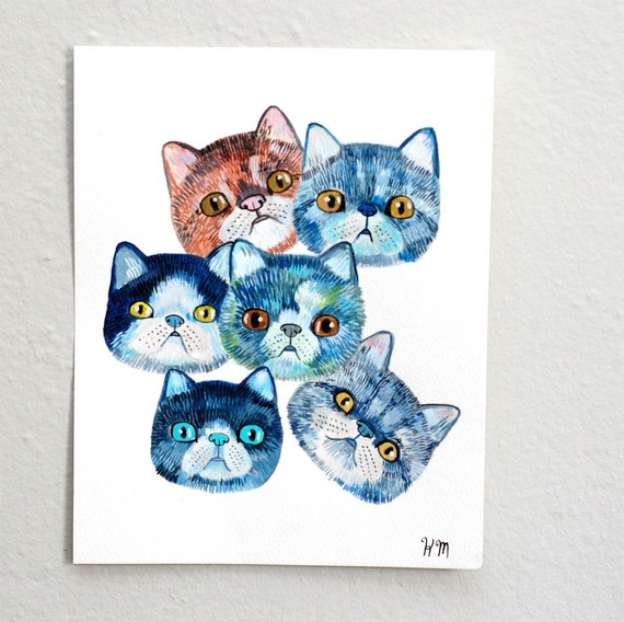 exotic shorthair cats (original painting on paper)