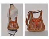 vintage leather bag vintage leather hippie purse custom hand made leather bag 1960s
