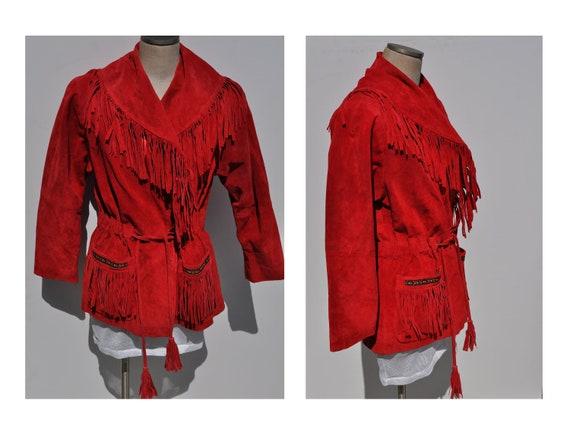 vintage leather jacket FRINGE suede jacket vintage leather coat womens jacket SCULLY