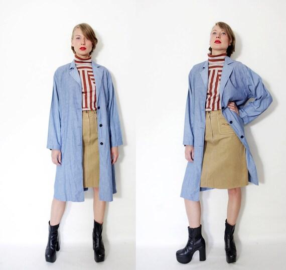 Vintage jacket / oversized  lightweight denim long coat / M-L