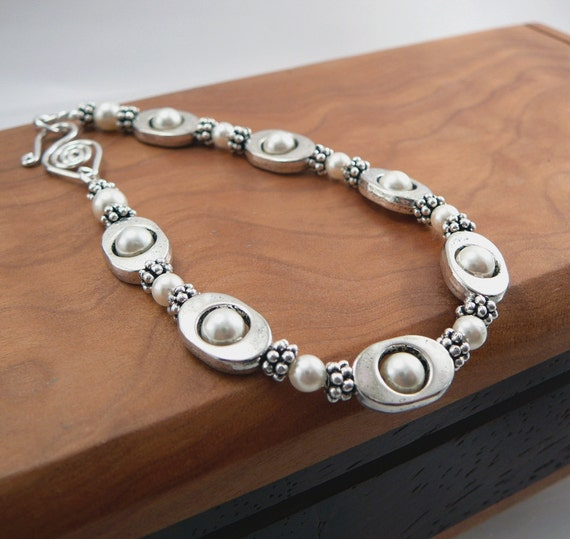 Classic Petite White Pearl Bracelet, Swarovski Pearls with Pewter Accents