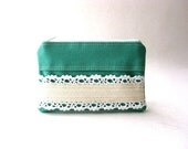 The Honey Coin Purse in emerald cotton - color block