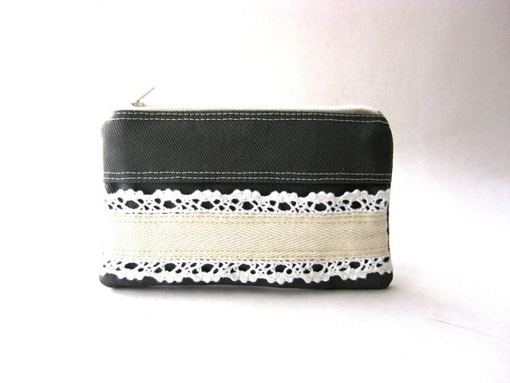 Coin purse, lace purse, gadget case, zipper pouch - The Honey Coin Purse in dark gray cotton - SALE 20% OFF - Prices already reduced