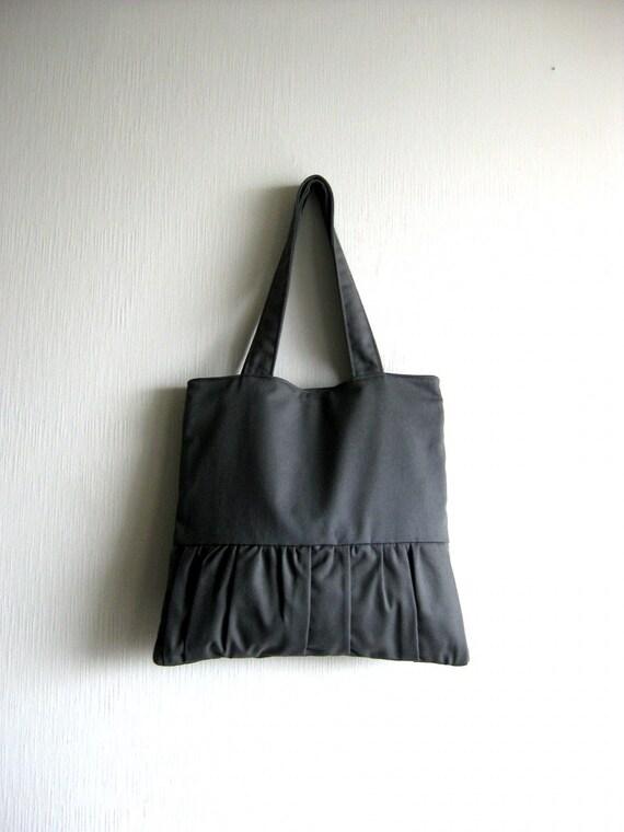 Tote bag, handbag, purse, romantic bag - Delicada Tote Bag in dark gray - SALE 20% OFF - Prices already reduced