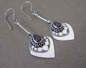 Dazzling Silver 925 Garnet Dangle Earrings / silver 925 / Bali jewelry / 2 inches / handwork earrings