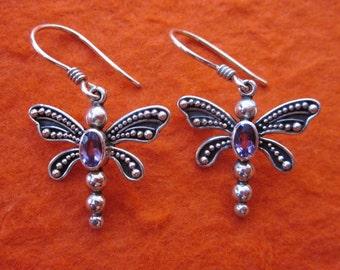 Bali 925 Silver Dragonfly dangle Earrings / silver sterling  / Balinese handmade jewelry / Amethyst