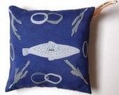 SALE**Fish, Linked Rings and Coral Hand Screen Printed Silk Pincushion