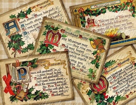Vintage Christmas Greetings ACEO Tags - Download and Print Digital Sheet