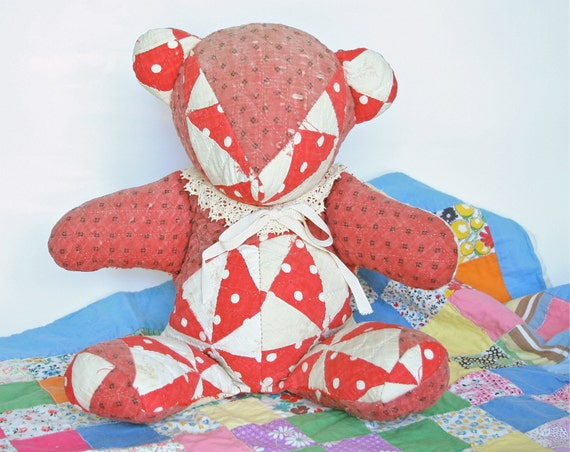 Antique Quilt Teddy Bear hand stitched patchwork gift ideas