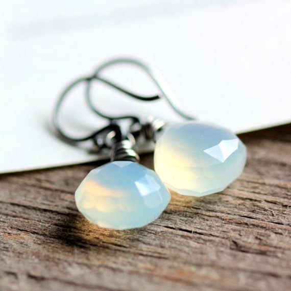 Opal Chalcedony Wire Wrapped Earrings Sterling Silver Mint Green October Birthstone Absinthe