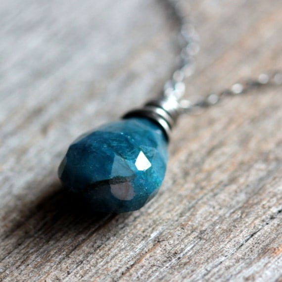 Blue Stone Necklace Sterling Silver Wire Wrapped Blue Chrysocolla and Sterling Silver Chain - Abyss Fall Winter Fashion Under 50 Gift