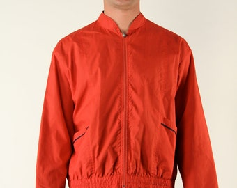 Vintage Opti Track Jacket Men Sportswear Red Zipper Pockets 80s Revival Large