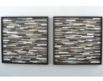 Wall Art - Wood Sculpture in Neutral Colors - Set of two 30x30 -