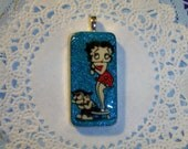 Gorgeous Glittery Betty Boop  -- Hand Stamped & Painted -- Large Domino Pendant ---