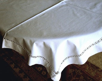 Linen TABLECLOTH or PILLOW CASE Throw Runner Dust Cover Antique vintage Runner Drawnwork Lace Trim