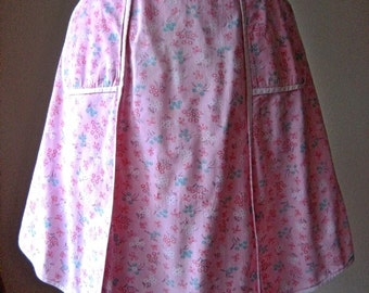 APRON Kitchen Skirt Bottom Cover PINAFORE Vintage Pink Chintz Speckled Flowers