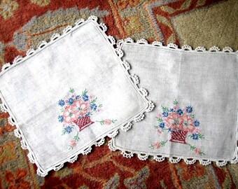 EMBROIDERED table Runner dresser scarf Hand Made Very Vintage LINEN Antique Set 2