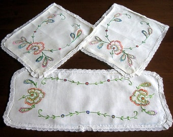 Embroidered Runner Table Scarf Hand Embroidery Vintage But NEW Embroidery Nosegay Dresser Set 3 Lace Hems