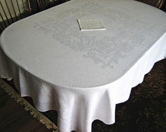 """DAMASK Tablecloth Vintage Pure Linen Sleek Bone White Smooth Quality Center Square Roses 80"""""""