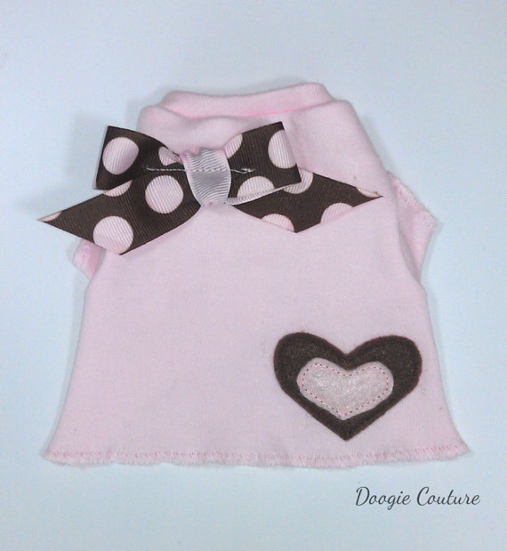 Pink and Brown Heart Dog Shirt Clothes Size XS