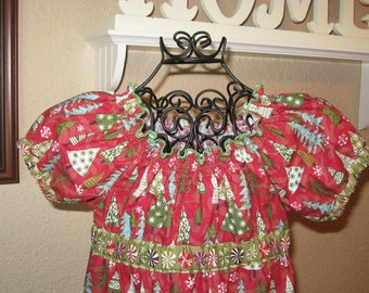 Girls Christmas Peasant Dress Size 3 Ready to Ship