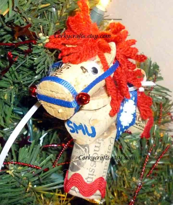 wine cork horse tree ornament/bottle tag/gift tag team colors & customer orders also available