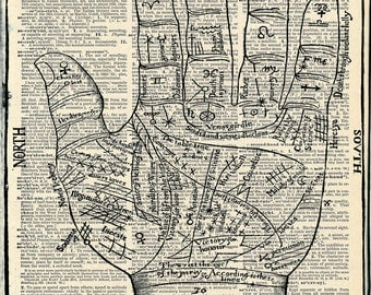 Vintage Dictionary Book Print - Fortune Teller's Hand - Anatomical Art Print - Vintage Circus - Recycled Art Print - Victorian Steampunk