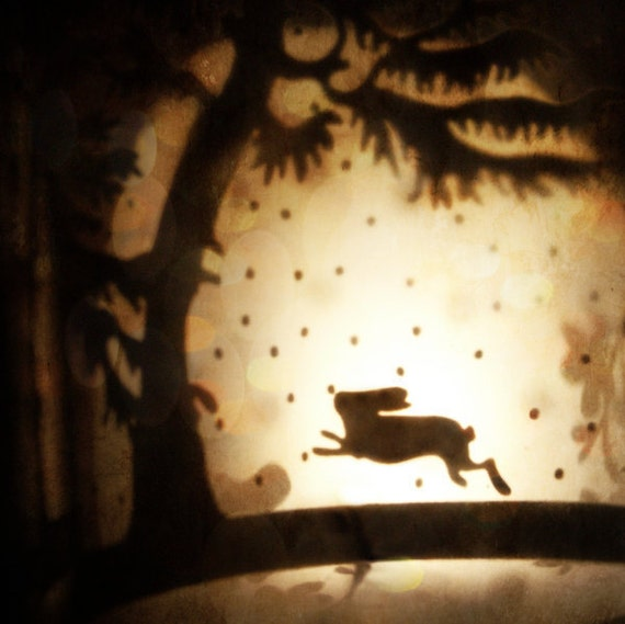 "Surreal Woodland Photo ""Rabbit Leaps the Moon"" Collage Photo - Fairy Tale Art - Dreamy Forest - Fine Art Photography - Animal Silhouette"