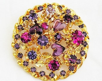 Austria Purple Glass Heart Brooch